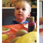 Connor dabbing eggs; www.makeoversandmotherhood.com