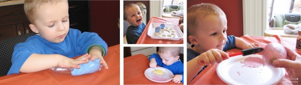 Connor painting eggs solid colors;  www.makeoversandmotherhood.com