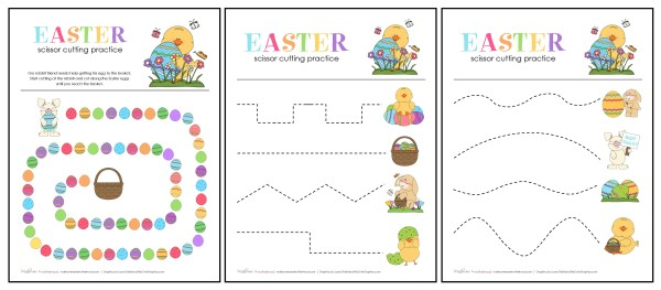 Easter Scissor Cutting Practice Sheet preview; www.makeoversandmotherhood.com