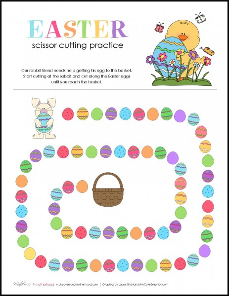 Easter Scissor Cutting Practice Sheets; www.makeoversandmotherhood.com