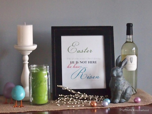 Easter decorations with printable;  www.makeoversandmotherhood.com