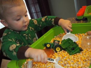 Ethan's corn explosion;  www.makeoversandmotherhood.com