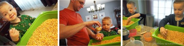Exploring corn with our hands;  www.makeoversandmotherhood.com