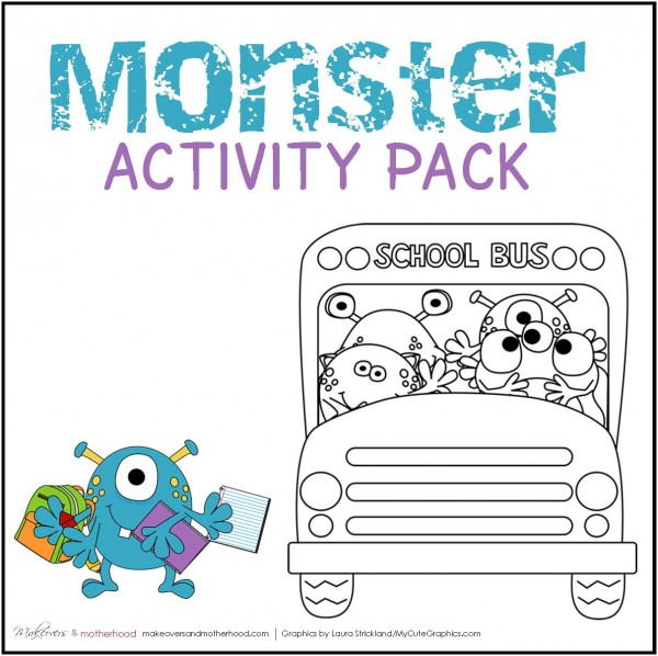 Monster Activity Pack (printables);  www.makeoversandmotherhood.com