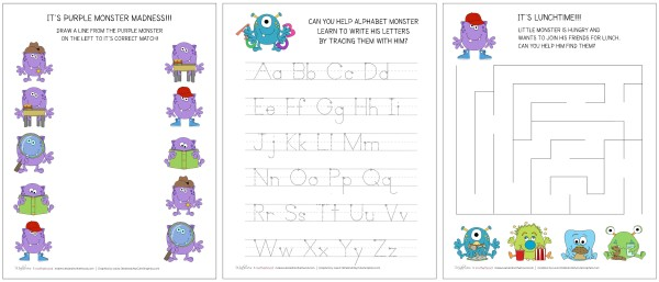 Monster activity sheet preview;  www.makeoversandmotherhood.com