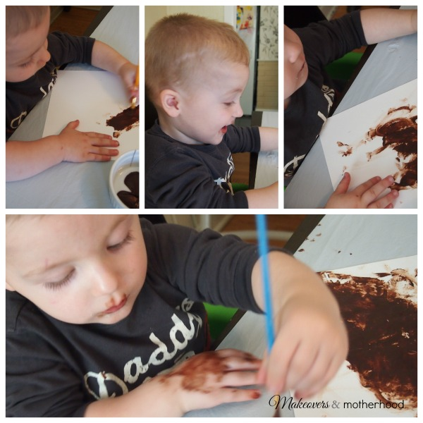 Ethan painting with chocolate; www.makeoversandmotherhood.com