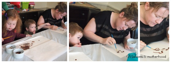 Georgina painting with chocolate; www.makeoversandmotherhood.com