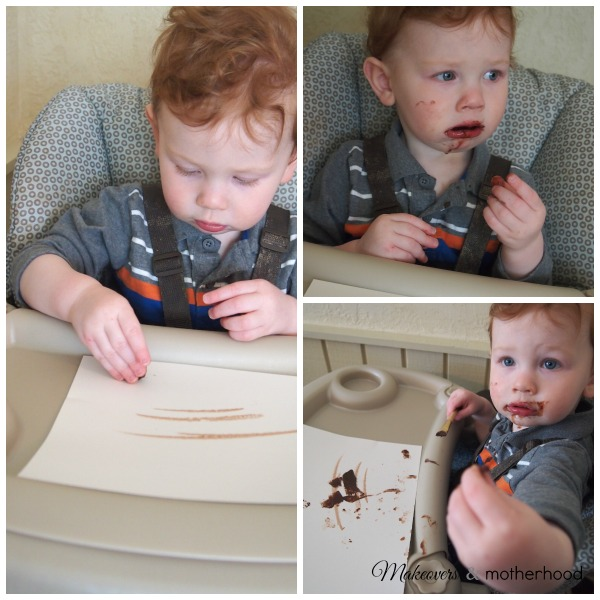 Henry discovering chocolate; www.makeoversandmotherhood.com