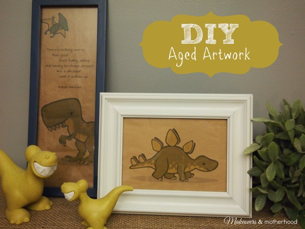 DIY Aged Artwork;  www.makeoversandmotherhood.com