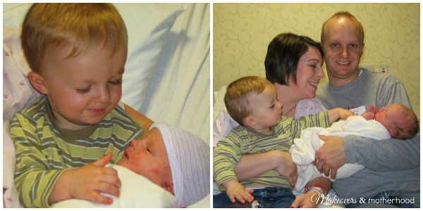 Dear Baby, Meet Your Siblings -- meeting Dylan; www.makeoversandmotherhood.com