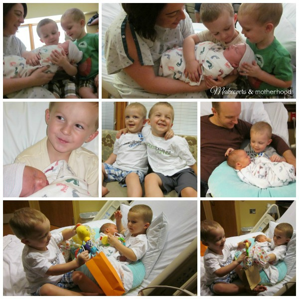 Dear Baby, Meet Your Siblings -- meeting Ethan; www.makeoversandmotherhood.com