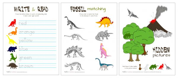 Dinosaur Activity Pack printable; www.makeoversandmotherhood.com