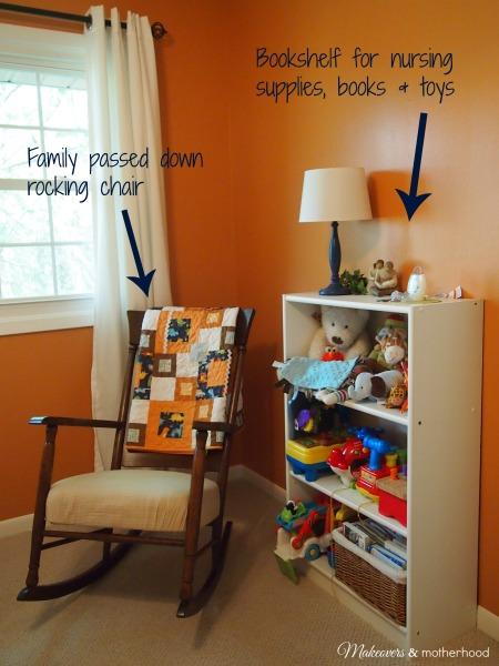 Nursery Rocking Chair & Bookshelf;  www.makeoversandmotherhood.com