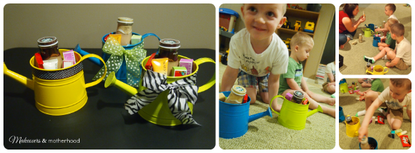 Assembling watering can teacher appreciation gifts;  www.makeoversandmotherhood.com