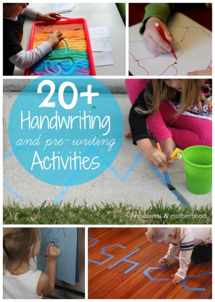 20+ Handwriting Activities; www.makeoversandmotherhood.com