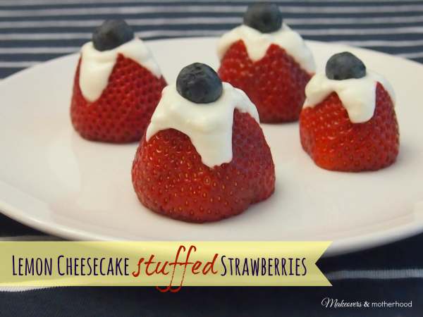 Lemon Cheesecake Stuffed Strawberries; www.makeoversandmotherhood.com