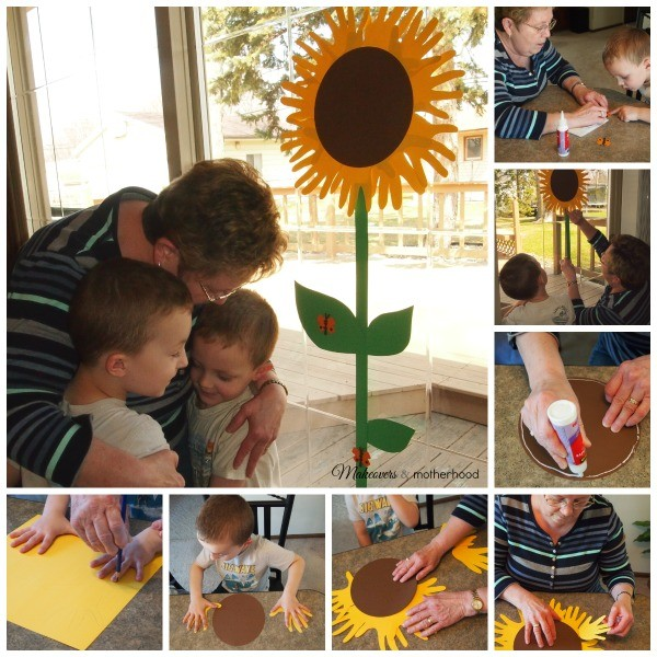 Sunflower Handprint Craft -- how to pictures; www.makeoversandmotherhood.com