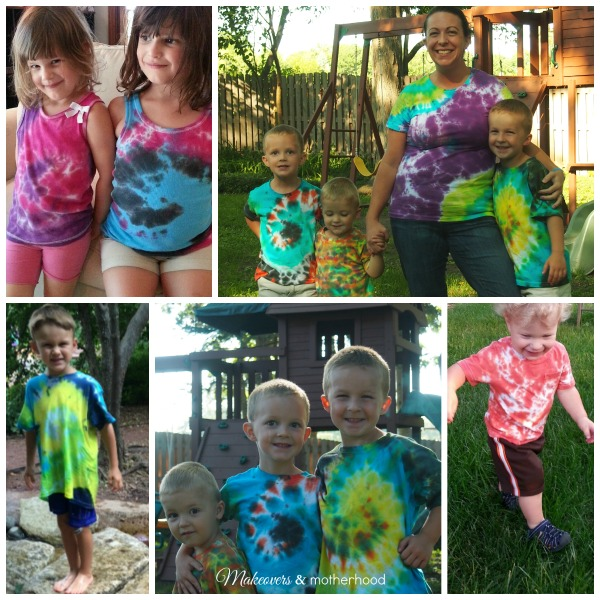 Our finished tie dye t-shirts;  www.makeoversandmotherhood.com