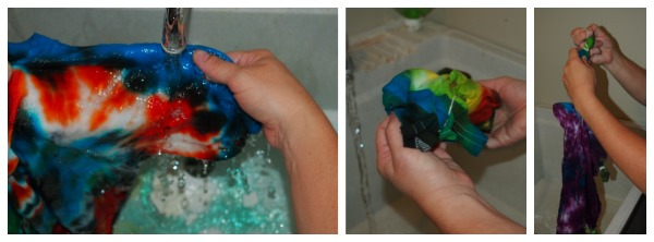 Rinsing tie dye t-shirts; www.makeoversandmotherhood.com