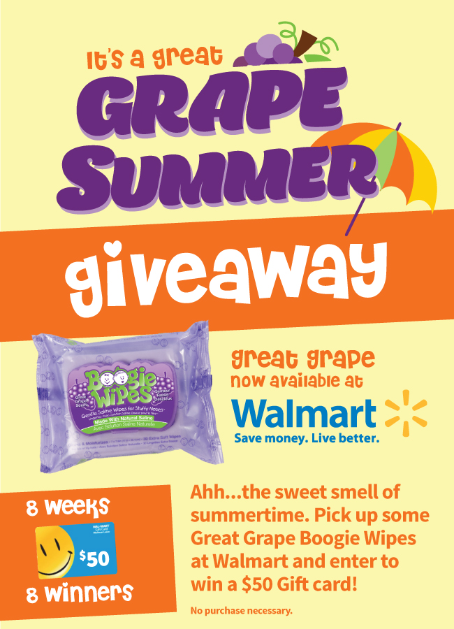 It's a Great Grape Summer celebration! Enter to Win a $50 Walmart gift card and a Boogie Wipes prize pack. One winner each week for the next 8 weeks. Enter now!