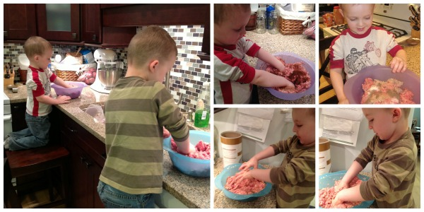 Boys making Mom's Meatball recipe; www.makeoversandmotherhood.com