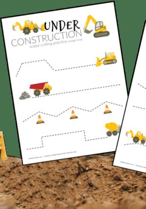 Construction Truck Scissor Cutting Practice Sheets