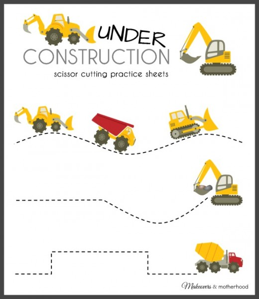 Construction Truck Scissor Cutting Practice Sheets (printable)
