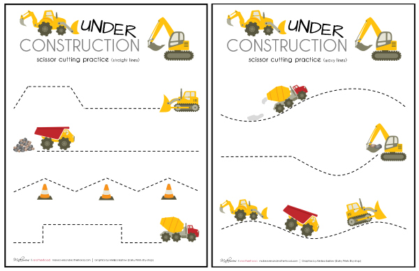 Construction truck scissor cutting sheet printables