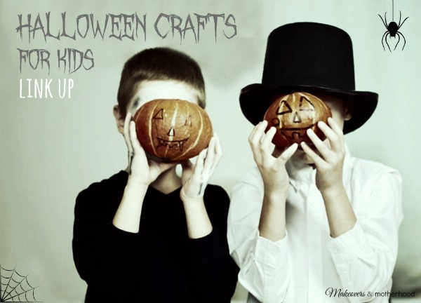 Halloween Crafts for Kids link up graphic; www.makeoversandmotherhood.com