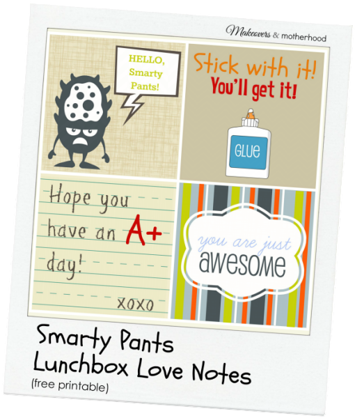 Smarty Pants Lunchbox Love Notes polaroid; www.makeoversandmotherhood.com