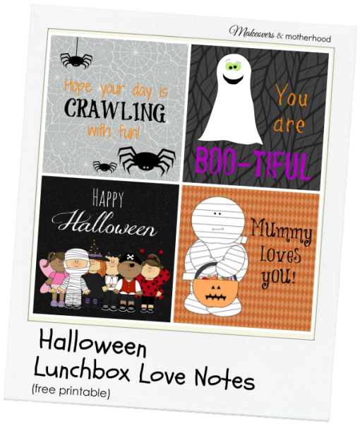 Halloween Lunchbox Love Notes; www.makeoversandmotherhood.com