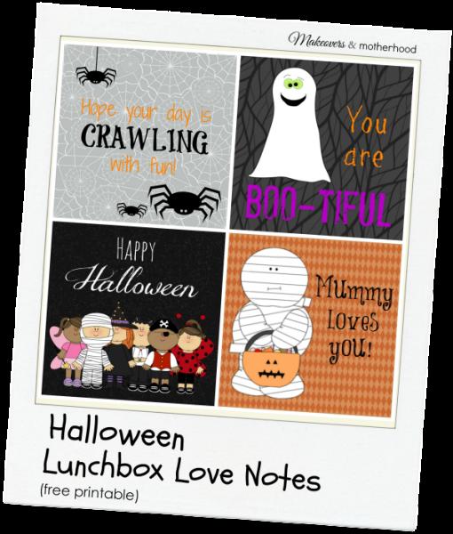 Halloween Lunchbox Love Notes; www.makeoversandmotherhood.com