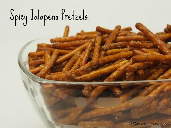Spicy Jalapeno Pretzels; www.makeoversandmotherhood.com