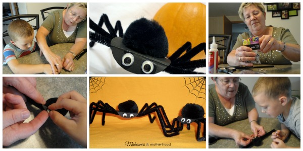 Spider Craft -- Grandma & the boys; www.makeoversandmotherhood.com
