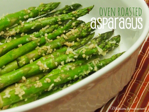 Oven Roasted Asparagus; www.makeoversandmotherhood.com