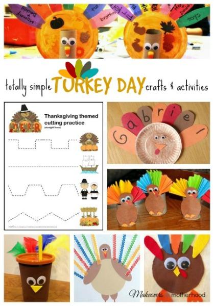 Turkey Day crafts and activities; www.makeoversandmotherhood.com