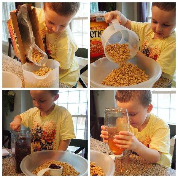 Kindergarten son making Cheerio Bars; www.makeoversandmotherhood.com