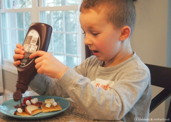Connor's chocolate syrup explosion; www.makeoversandmotherhood.com