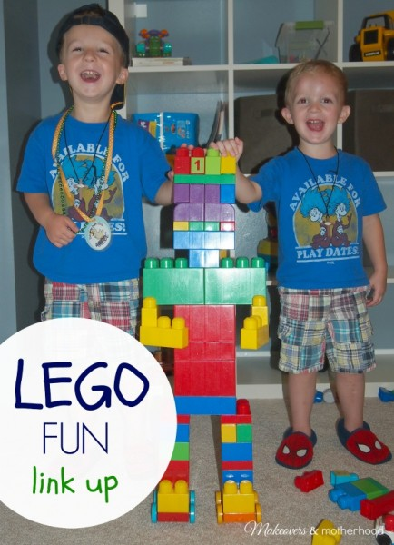 Boy with their Lego Duplex robot; www.makeoversandmotherhood.com