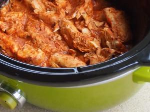 Enchilada chicken in slow cooker; www.makeoversandmotherhood.com