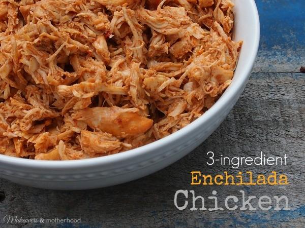Slow Cooker Enchilada Chicken; www.makeoversandmotherhood.com