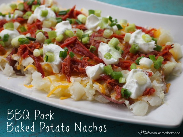 BBQ Pork Baked Potato Nachos; www.makeoversandmotherhood.com