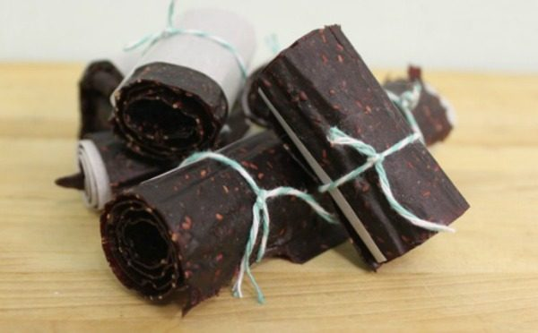 Homemade Banana Berry Fruit Leather -- cropped