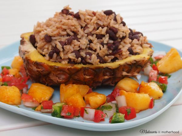 Luau Boats rice & beans; www.makeoversandmotherhood.com