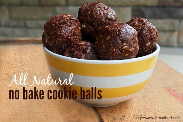 All Natural No Bake Cookie Balls; www.makeoversandmotherhood.com