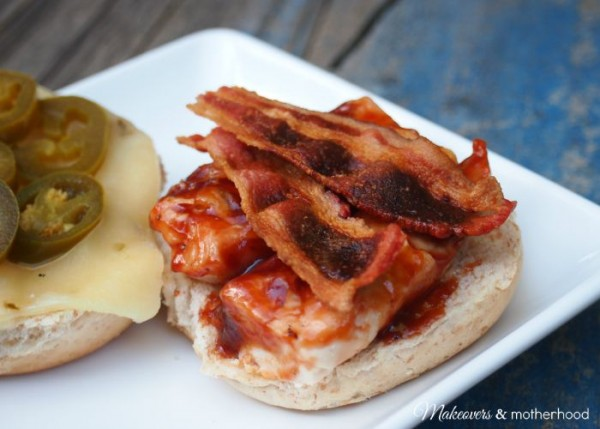 Jalapeno BBQ Bacon Chicken Sandwich -- open face; www.makeoversandmotherhood.com