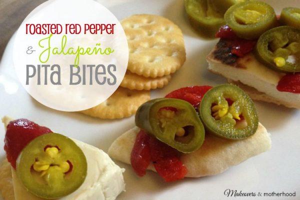 Roasted Red Pepper & Jalapeno Pita Bites; www.makeoversandmotherhood.com