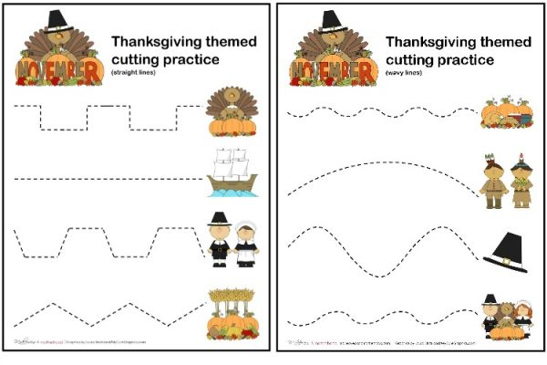 Thanksgiving Cutting Practice Sheets (printable); www.makeoversandmotherhood.com