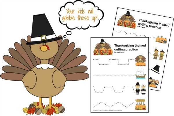 Thanksgiving Scissor Cutting Practice Sheets; www.makeoversandmotherhood.com
