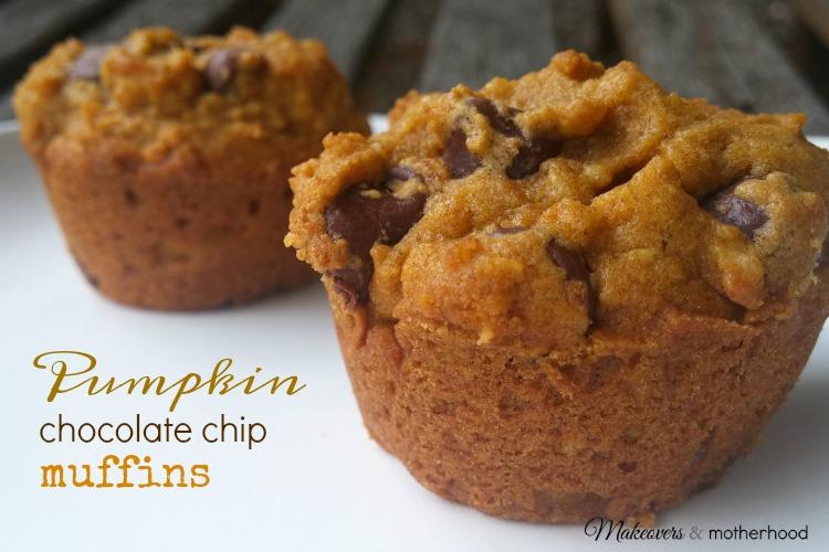 Pumpkin Chocolate Chip Muffins; www.makeoversandmotherhood.com